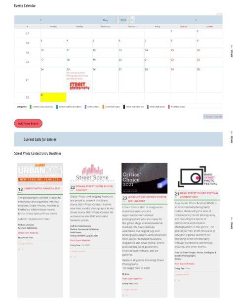 All Street Photography Events Calendar (Screenshot)